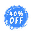 40 off sale text blue painted spot brush stroke vector image vector image