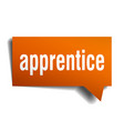 apprentice orange 3d speech bubble vector image vector image