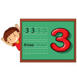 boy on number three worksheet vector image