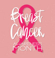 breast cancer awareness month - conceptual poster vector image
