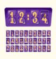 cartoon numeral alphabeth vector image