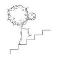 cartoon of man carrying big piece of rock upstairs vector image vector image