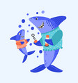 cartoon shark family blow bubbles flat vector image