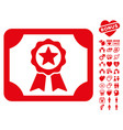 certificate icon with lovely bonus vector image