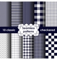 Checkered fabric seamless pattern blue and white vector image vector image