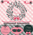 Christmas Wreath Clipart and Paper Set vector image