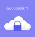 cloud security icon isolated on a blue background vector image