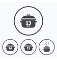 Cooking pan icons Boil fifteen minutes vector image vector image