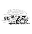 cows chewing grass on background farm vector image vector image