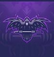 crow carry a sword gaming mascot logo design vector image
