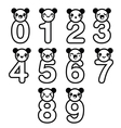 Cute bear Kawaii numbers set vector image