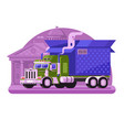 delivery truck with gift box in flat vector image