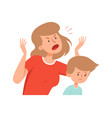 Domestic violence angry mother sad boy bullying