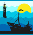 fishing boat and lighthouse vector image