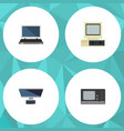 flat icon computer set of computer vintage vector image