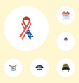 flat icons awareness musical instrument hat and vector image vector image