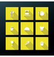flat restaurant icon set vector image vector image