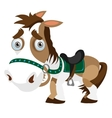Funny horse closeup in cartoon style Isolated vector image