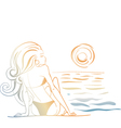 girl and the ocean doodle vector image vector image