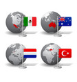 gray earth globes with designation mexico vector image vector image