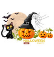 halloween card with black cat and pumpkins faces vector image vector image