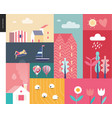 idillic summer landscape collage vector image vector image