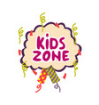 kids zone for leisure and game logo isolated vector image