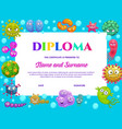 kindergarten diploma with cute bacteria germs vector image vector image