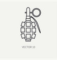line flat military icon - hand grenade vector image vector image