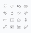 linear web icons set - love collection of simple f vector image