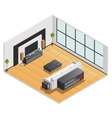 Living Room Interior Isometric View Poster vector image vector image