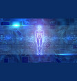man figure on electronic chip background vector image vector image