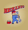 mechanic retro cartoon vector image vector image