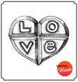 Metallic heart engraved with letters vector image