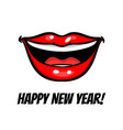 new year red woman lips in pop art style vector image vector image