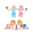 newborn babies in diapers and children crawling on vector image