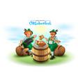 oktoberfest beer festival two german man sit on vector image vector image