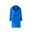 overcoat icon fashion blue on white background vector image vector image