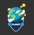 planet ribbon earth planet design image vector image