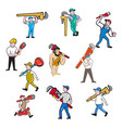 plumber cartoon set vector image vector image