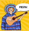 pop art mariachi in poncho and sombrero vector image vector image
