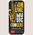 poster for online music concert with a saxophone vector image