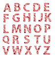 red dotted alphabet letters eps10 vector image