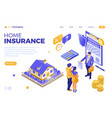 sale purchase insurance mortgage house isometric vector image vector image