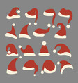 set christmas hats santa claus collection vector image vector image