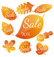 set of autumn yellow-red leaves vector image vector image