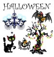 Set of symbols Halloween on white background vector image vector image
