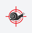 snail silhouette animal pest icon red target vector image vector image