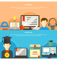 Two Flat Learning Banner Set vector image vector image