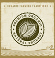 vintage premium organic natural product label vector image vector image